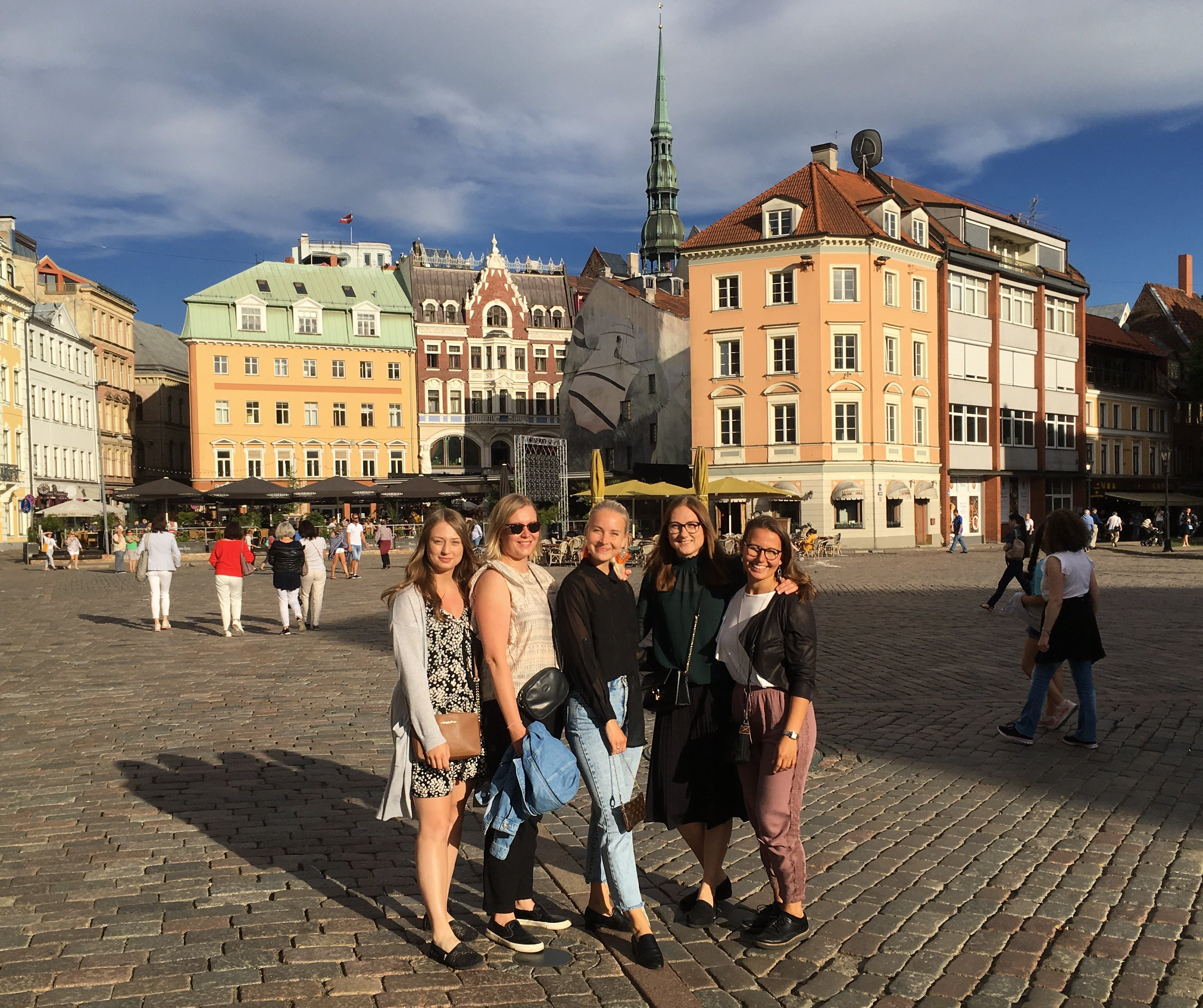 Heidi (left), Katja, Noora, Mari and Sanna's first evening in Riga